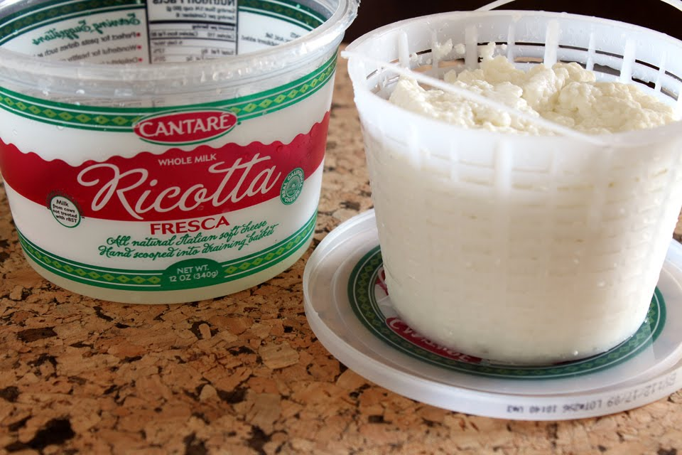 Line a strainer with cheesecloth. Place the ricotta in the strainer ...