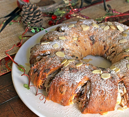 Cherry and pistachio stollen