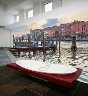 Ideias decoração mobiliário | casa de banho com mosaico decorativo.