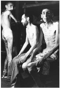 Starving men in Nazi concentration camp