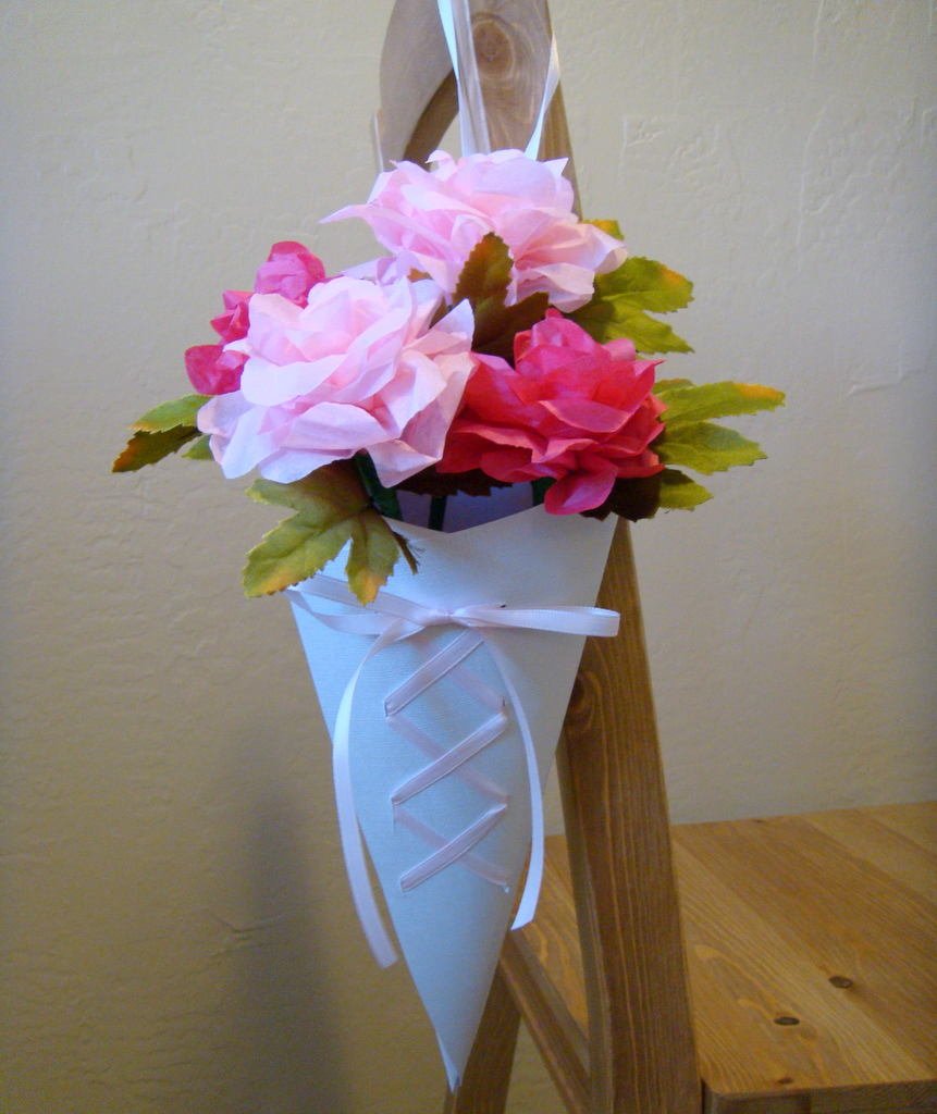 Ido it myself wedding diy ribbon laced paper cones wedding diy ribbon laced paper cones mightylinksfo