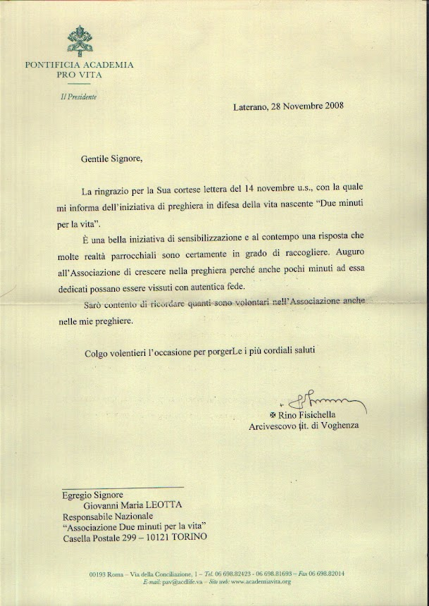 Lettera dalla Pontificia Accademia per la Vita