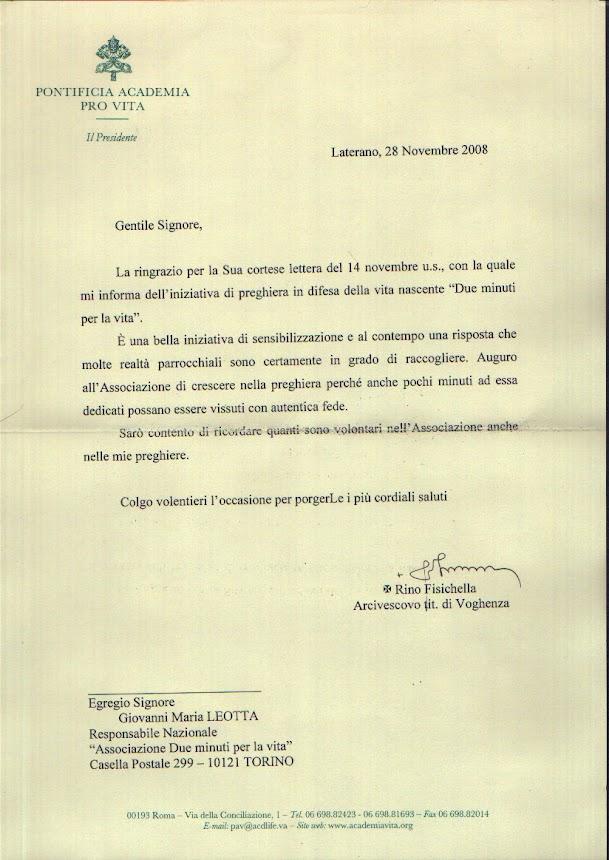 Lettera dalla Pontificia Accademia per la Vita