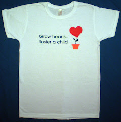 """Grow hearts...foster a child"" Ladies t-shirts $14.00 each"