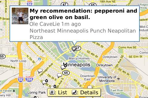 Google Buzz in Maps für Blackberry