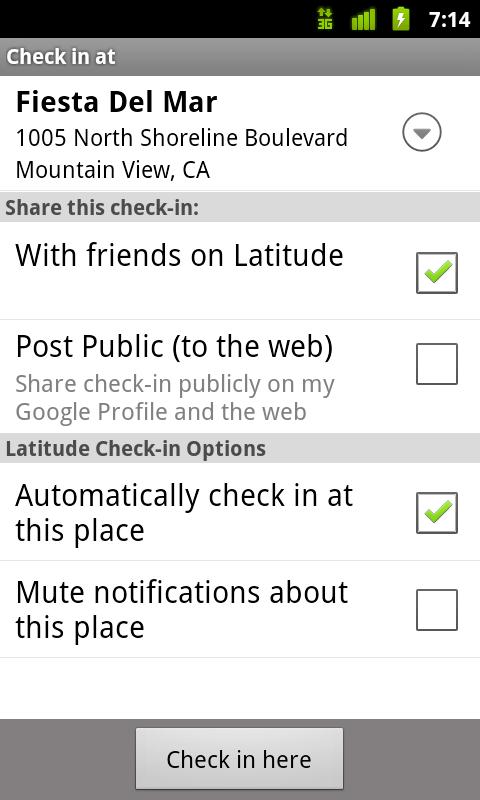 Choisissez avec qui partager vos check-ins dans Google Latitude.