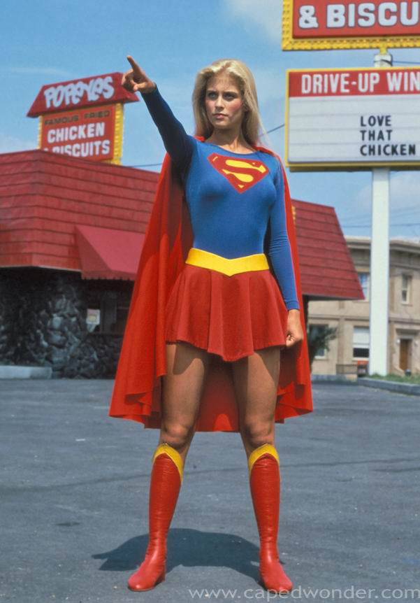 Well, the first picture is of the original Supergirl who no longer exists in ...