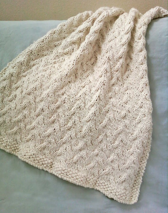 Knitting Pattern For Baby Blanket With Cable : LuluKnits: Ocean Cable Knit Blanket