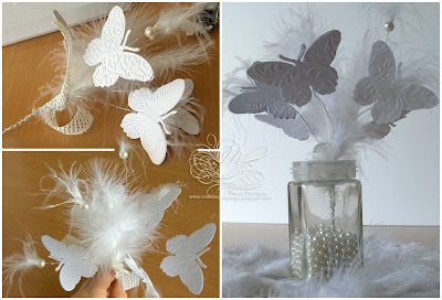 white butterfly and feather bouquet