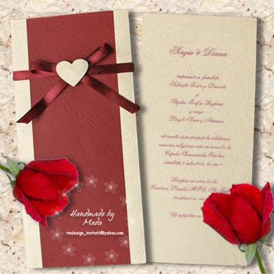 Wedding Invitation with Butterflies Invitatie de nunta cu fluturasi