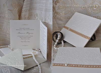 gold invitation with pearls