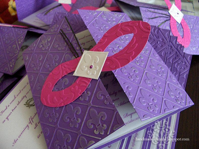 Pink Purple Silver Masquerade Invitations - Handmade by Meda