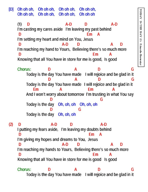 TODAY IS THE DAY - lyrics and chords ~ Faith and Music
