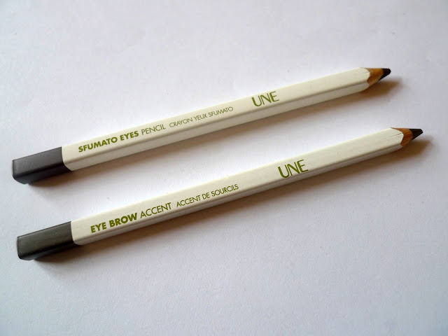 UNE Sfumato Eyes Pencil in S24 and UNE Eye Brow Accent Pencil in B04