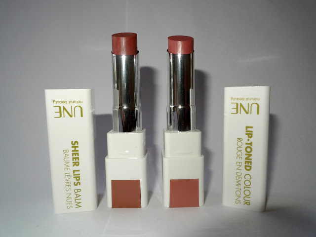 UNE Sheer Lips Balm in S12 and UNE Lip-toned Colour in L02
