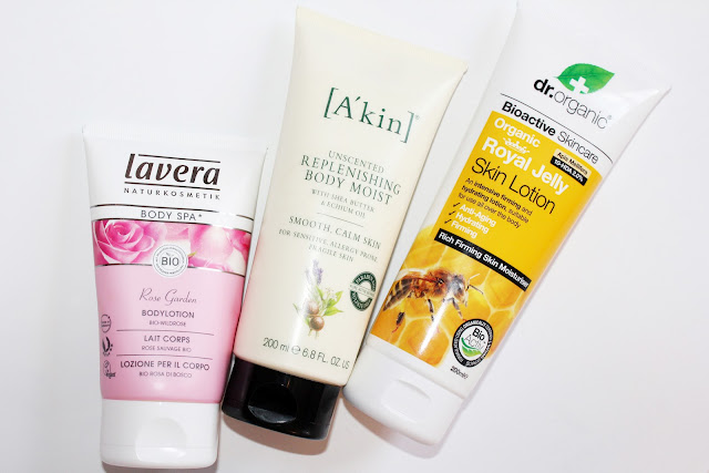 Mineral oil-free body lotions from Lavera, Akin and Dr. Organic