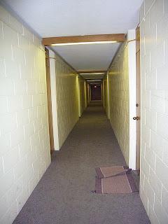 Näkymä seitsemännen kerroksen käytävästä - huomaa kokolattiamatto!
