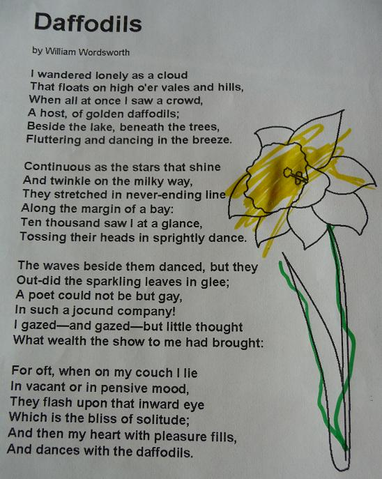 daffodils poem by william wordsworth essay William wordsworth's poem i wandered lonely as a cloud is written in 1807 it stands out clearly that it is a romantic poem, because it has the characteristics of romanticism - the narrator is a lonely poet, there has been used a lot of figurative language and nature is in focus.
