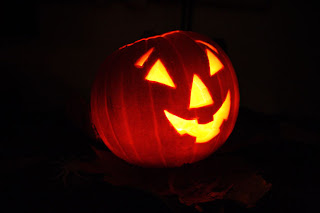 This public domain Jack-o-Lantern image is happy because inside, he's already dead.