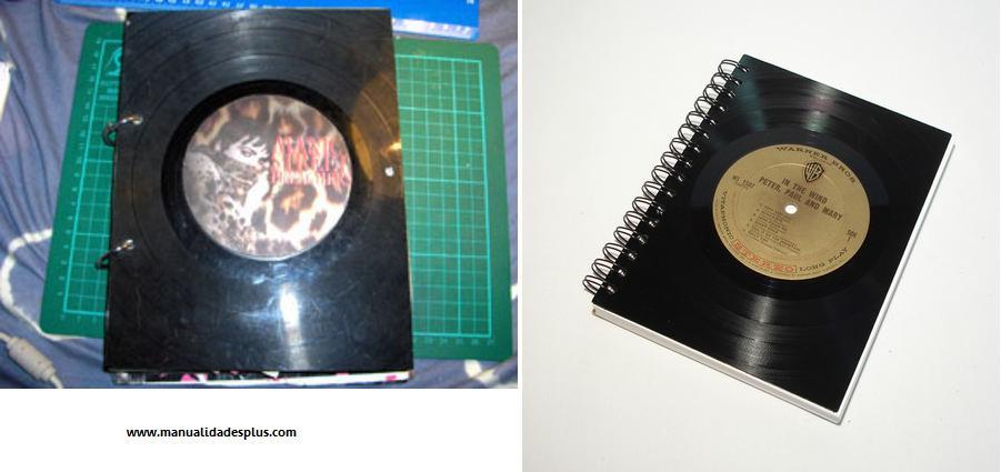 Reciclaje carpetas con discos de vinilo - Decoracion con discos de vinilo ...