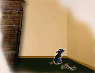 ratinho olhando para a chave caída no chão
