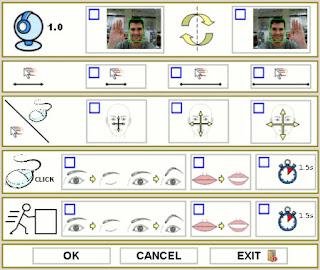 Tela de configuração do programa HeadMouse