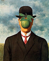 Well-dressed man with a green apple as his face