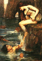 Naked woman playing harp for young adoring man swimming below
