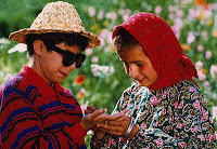 Still of blind boy and young girl in Iranian film