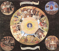 Hieronymus Bosch painting with circular shapes of sins
