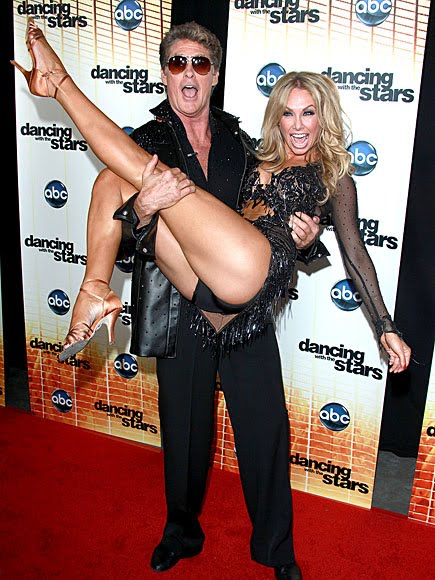 David Hasselhoff and Kym Johnson Try to Get a Leg Up on the Competition