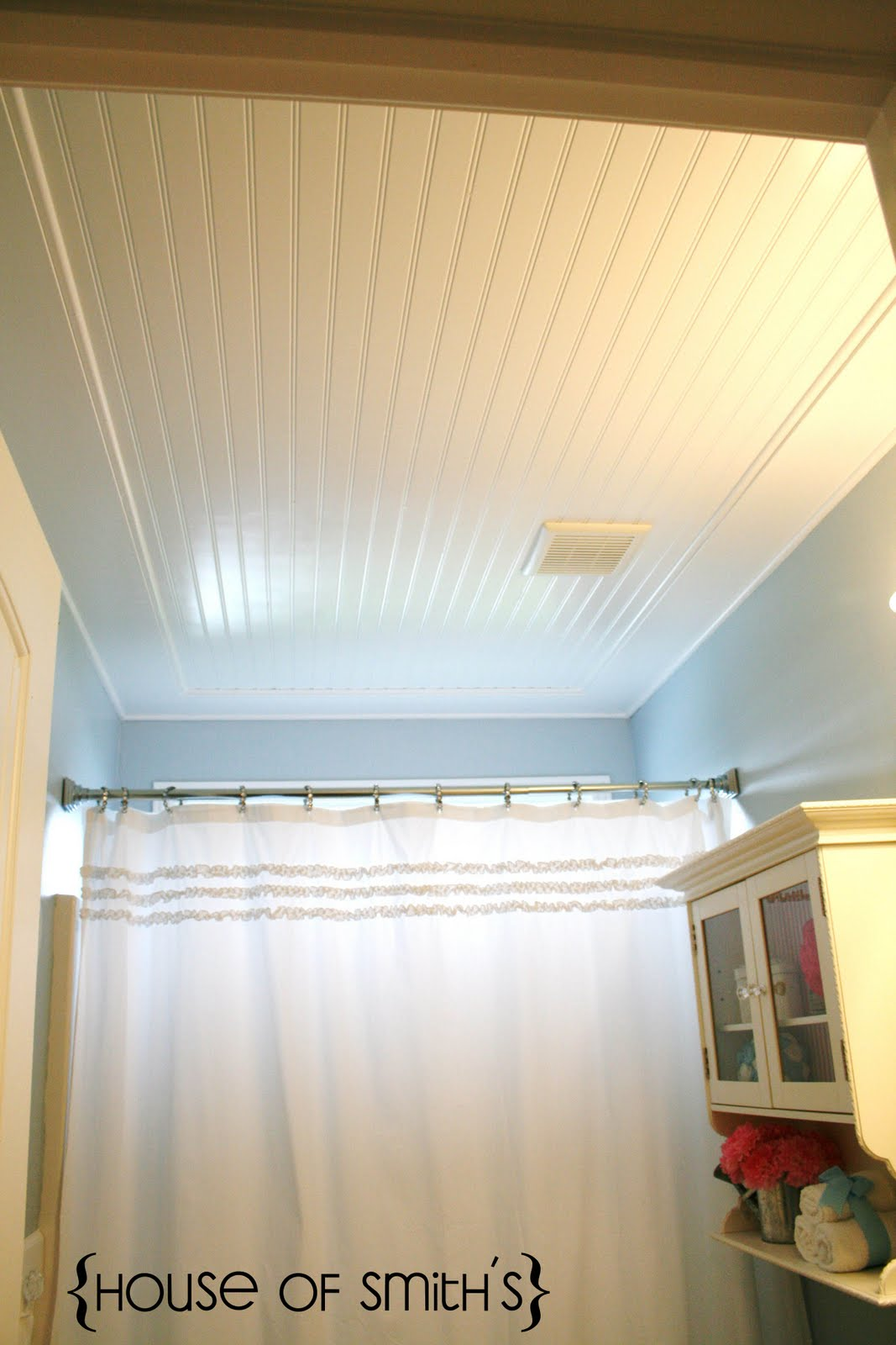 Beadboard ceiling tutorial for Small bathroom high ceiling