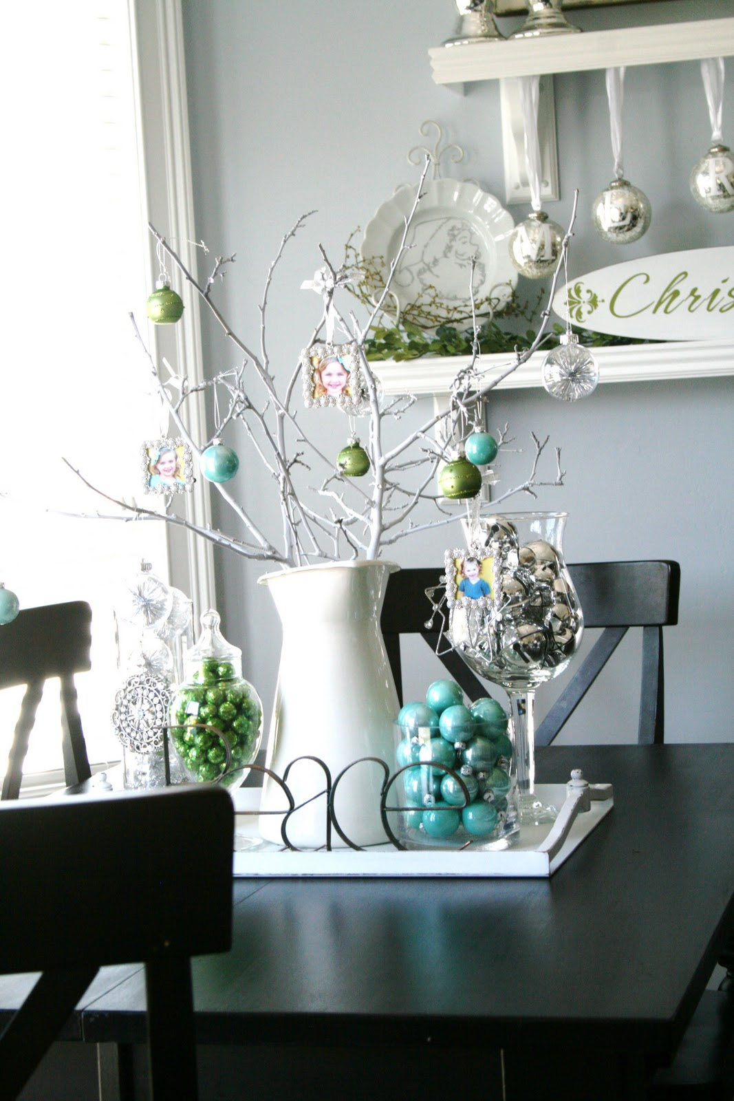 Blue green white and silver christmas decorating ideas White christmas centerpieces