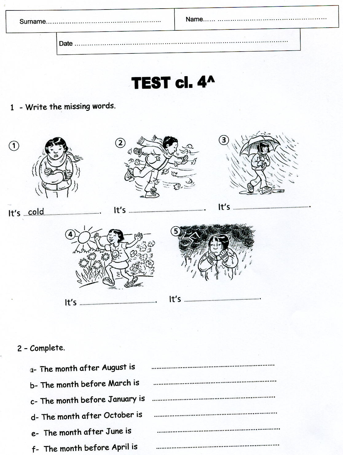 English For Primary Teachers And Children Mounths And Seasons Test