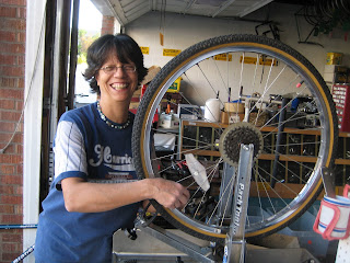 Volunteer Truing a wheel