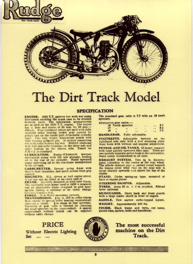 499cc rudge dirt bike specs