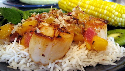 ... Shrimp & Scallops With Warm Tropical Fruit Salsa and Corn On The Cob