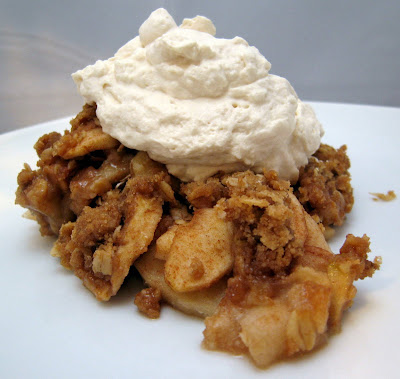 Cinnamon Apple Crisp Topped with Vanilla Cream
