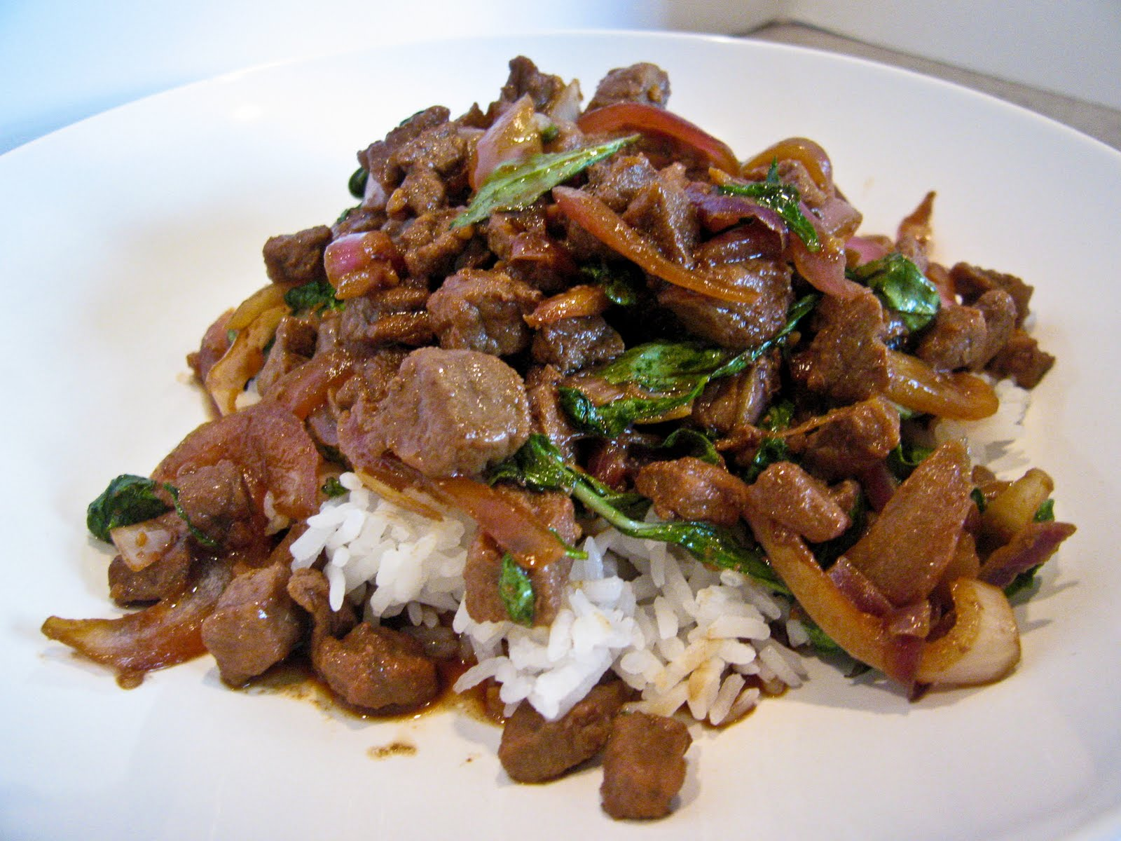 Thai Stir Fried Chopped Beef With Basil | The Spiced Life