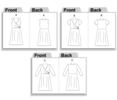My actual dress is very similar to B5001, with the shirred outer wrap.