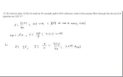 Homework Help In Algebra  If A Device Does  Kj Of Work In   If A Device Does  Kj Of Work In  Seconds And Is  Efficient What Is  The Current Flow Through The Device If It Operates On  V