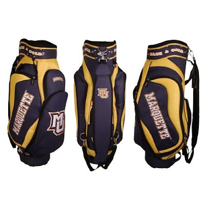 Marquette University Golden Eagles golf bag colored golf, blue, and white.