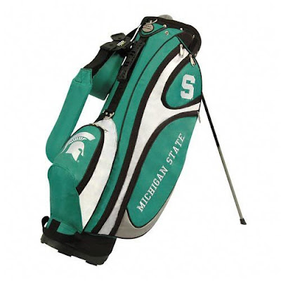 Michigan State University (MSU) Spartans golf bag colored green and white.