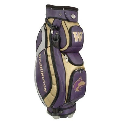 University of Washington Huskies golf bag colored purple, gold, and white.