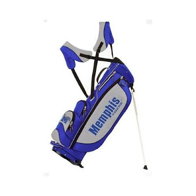 University of Memphis Tigers golf bag colored gray, blue, black, and white.