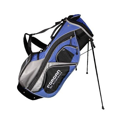 Utah State University Aggies colored golf bag that is blue, white, and black.
