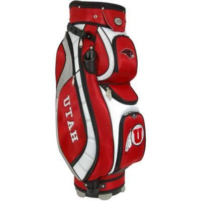 University of Utah Utes golf bag colored red, crimson, white, and black.