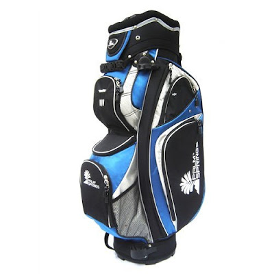Rice University Owls colored golf bag that is blue, silver, and gray.