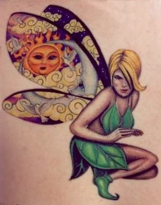 Tinkerbell tattoo design. Sometimes, women choose specific fairies,
