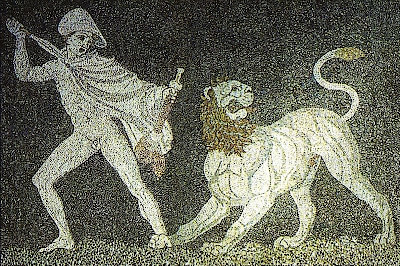 Alexander not taking no shit from no lion - from a 3rd century BCE mosaic now at Pella Museum, Greece - public domain, via World Imaging at Wikimedia Commons